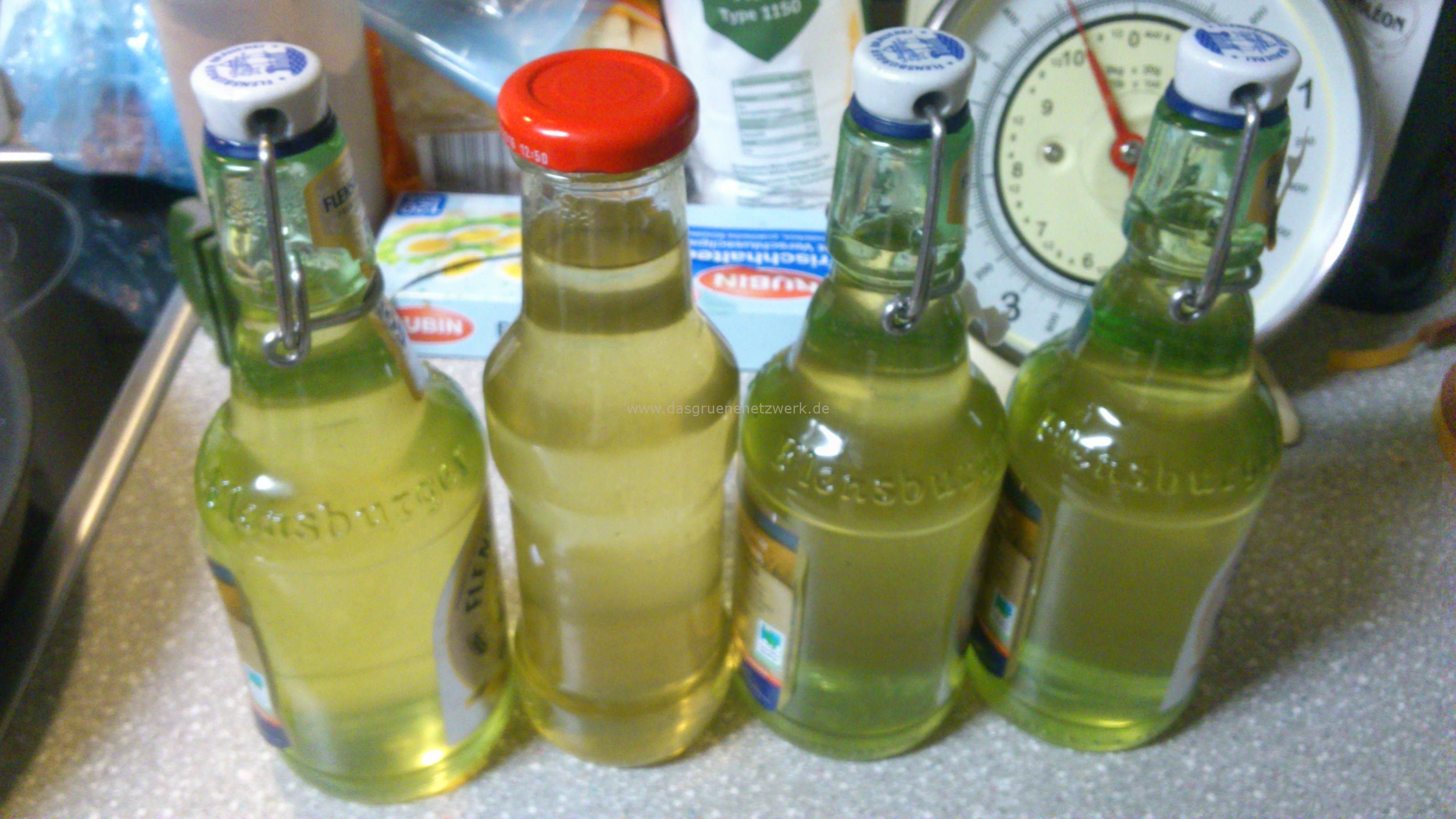 Ich nehme zum Abfüllen Soßenflaschen, kleine Weinflaschen oder Plopp-Bierflaschen. Hauptsache: Steril und Dicht